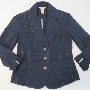 Sundance Navy Frayed Edge Cotton Blazer 4P